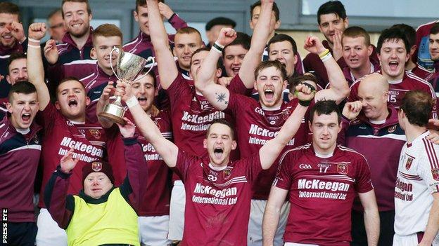 Cushendall celebrate winning the Ulster Hurling Championship in October 2015