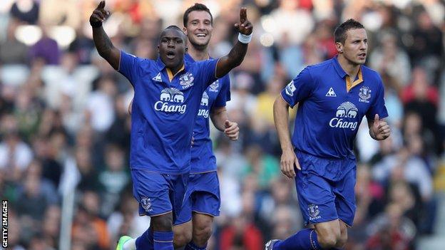 Royston Drenthe celebrates scoring for Everton against Fulham in 2011