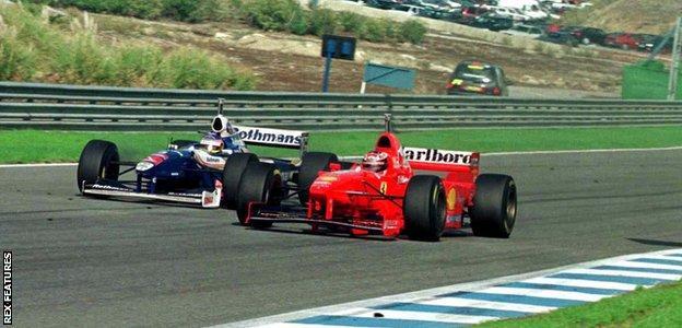 Jacques Villeneuve and Michael Schumacher