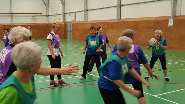 Walking netball training session, Stockport, Greater Manchester