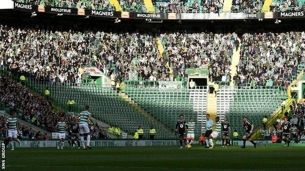 The Green Brigade section of Celtic Park is empty after being closed for the evening