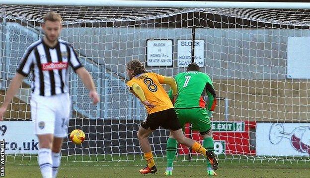 Cambridge United's Luke Berry puts his side 1-0 up against Notts County