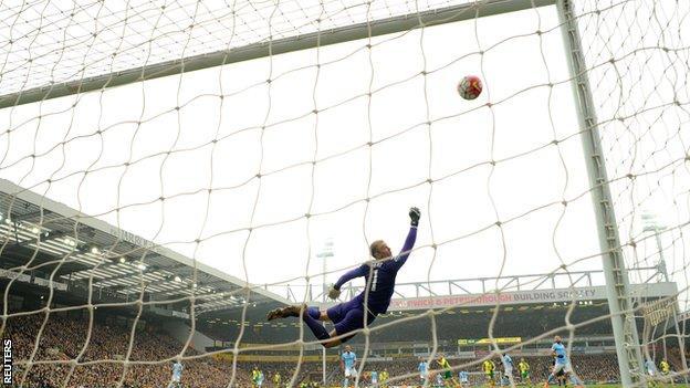 Man City keeper Joe Hart looked beaten before the crossbar kept out Patrick Bamford's shot