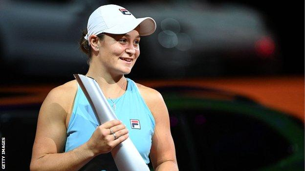 Ashleigh Barty with her trophy at the Ashleigh Barty