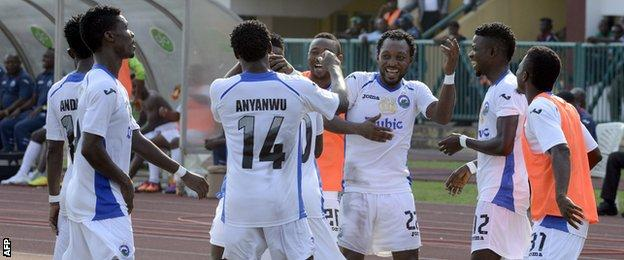 Enyimba celebrate in the Nigerian Cup final in 2014