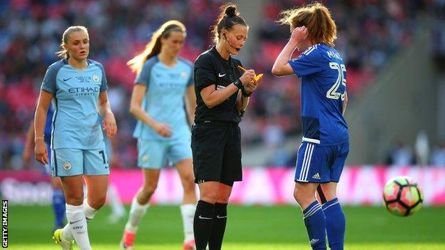 Rebecca Welch referees the 2017 Women's FA Cup final between Manchester City and Birmingham