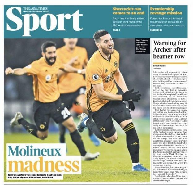 The front of The Times sport section