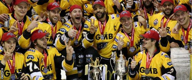 Nottingham Panthers show off their Elite League play-off trophy and Challenge Cup silverware