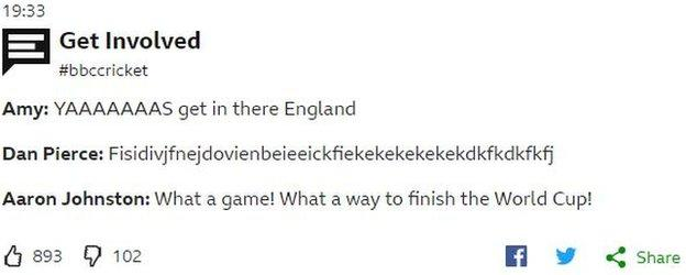 """Tweets to BBC Sport saying """"Yes. get in there England"""" and """"what a game. What a way to finish a World Cup."""""""