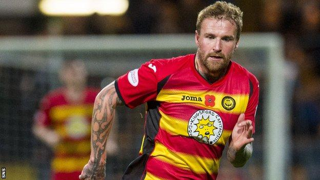 Ryan Stevenson playing for Partick Thistle