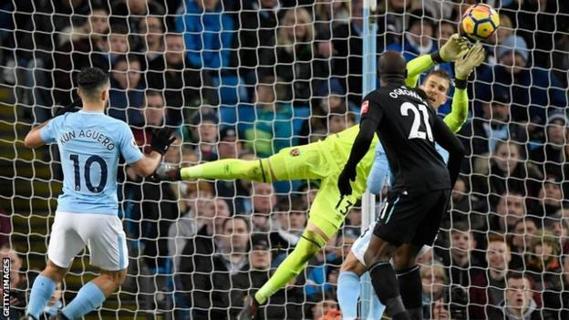 West Ham goalkeeper Adrian made six saves in total, including five in the second half.