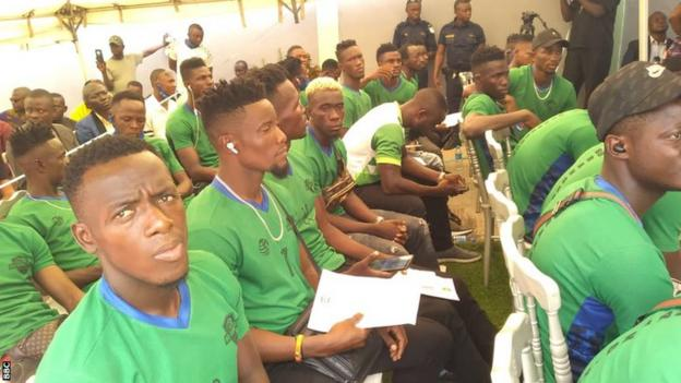 Bo Rangers players at the opening of the clubs new headquarters