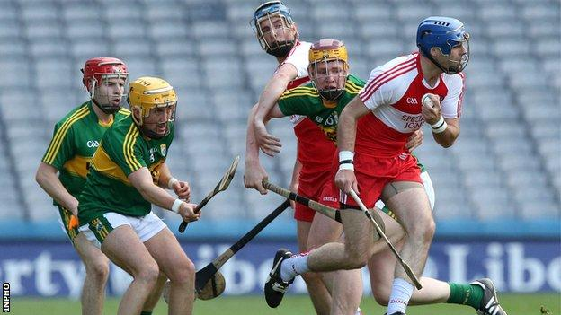 Liam Og Hinphey moves clear of three Kerry players in last year's Christy Ring Cup final