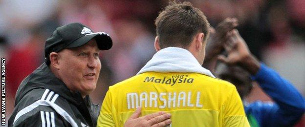 Russell Slade (left) with David Marshall