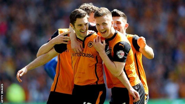 Sam Ricketts (left) celebrates scoring a goal for Wolverhampton Wanderers