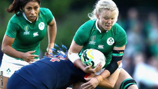 Claire Molloy in action for Ireland