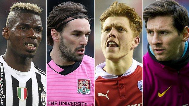 Paul Pogba, Ricky Holmes, Alfie Mawson, Lionel Messi