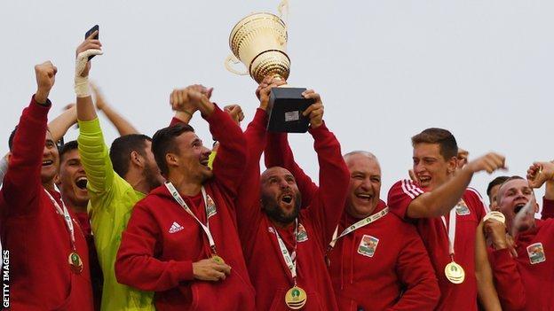 Karpatalja celebrate their 2018 Conifa World Cup victory