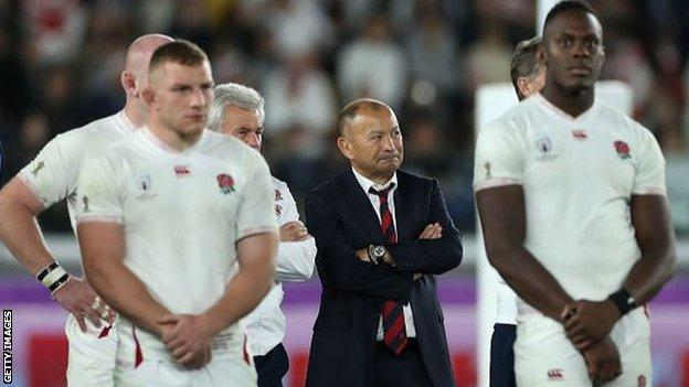 Eddie Jones (centre) guided England to the World Cup final, which they lost to South Africa