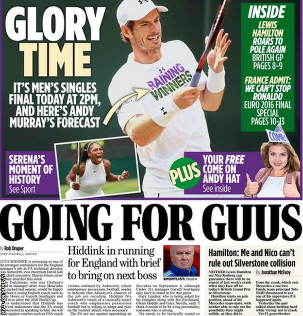 The Mail on Sunday's back page