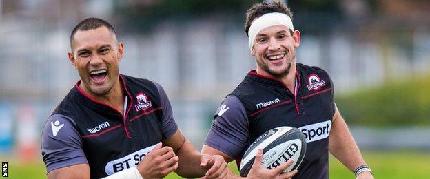 Robbie Fruean and John Hardie in Edinburgh training