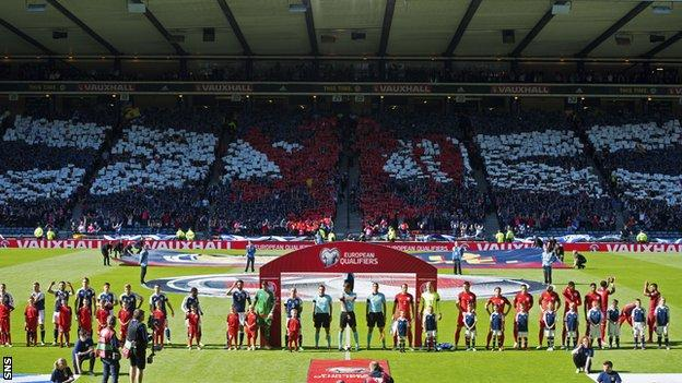 Scotland and England line-up before the 2-2 draw at Hampden