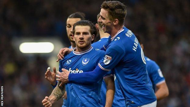 Matty Kennedy celebrates scoring for Portsmouth