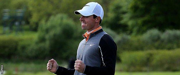 Rory McIlroy celebrates after winning the Irish Open at the K Club in 2016