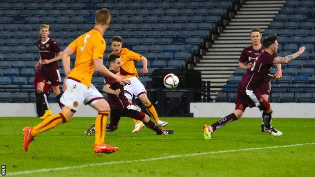 Robbie Leitch scores for Motherwell against Hearts