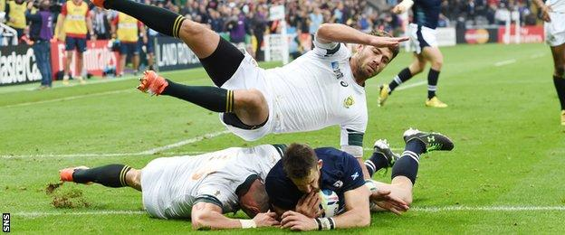 Tommy Seymour scores a try for Scotland