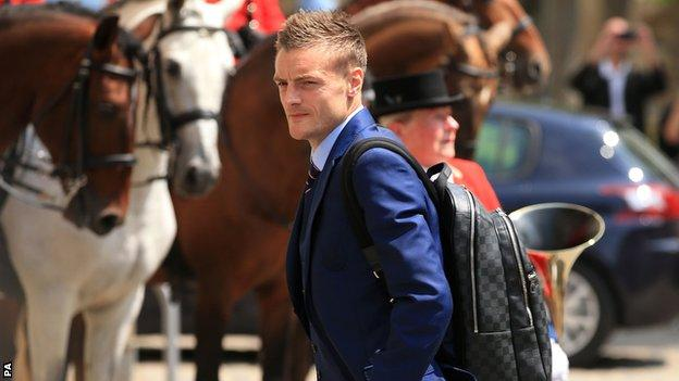 Jamie Vardy arrives in France for Euro 2016 with England as his club future remains undecided