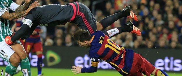 The incident which led to Barcelona's controversial penalty