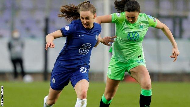 Niamh Charles in the Champions League quarter-final victory over Wolfsburg