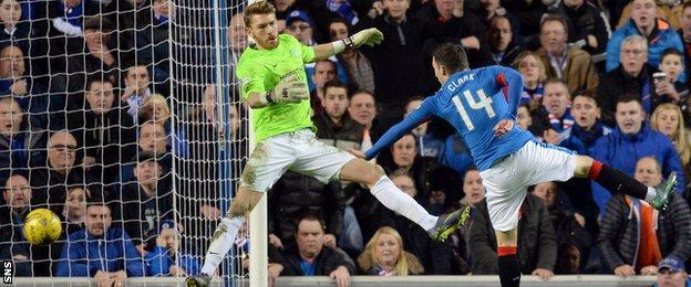 Nicky Clark scores for Rangers against Hibernian