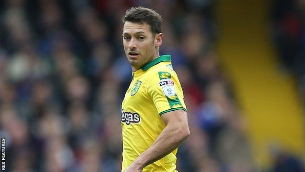 Wes Hoolahan playing for Norwich City