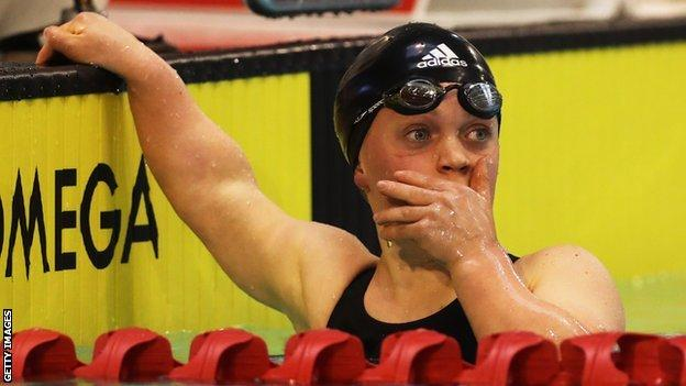 Ellie Simmonds looks surprised to have broken the world record