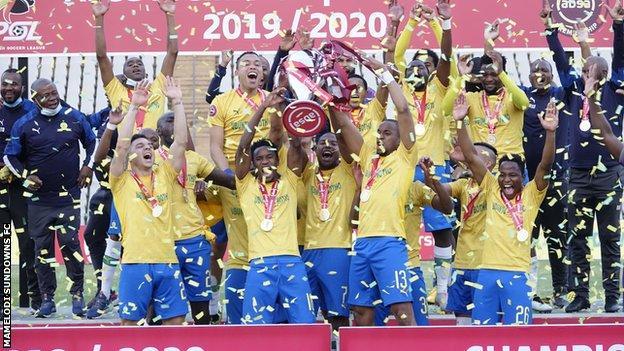 Mamelodi Sundowns celebrate their latest title