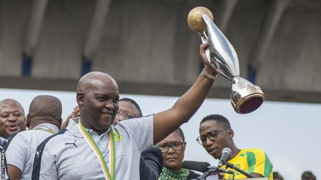 Pitso Mosimane with the African Champions league trophy in 2006