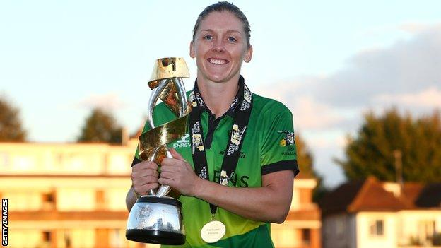 Western Storm captain Heather Knight holds up the trophy after beating Southern Vipers in the 2019 Kia Super League final