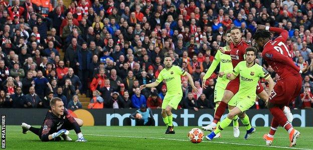 Divock Origi scores Liverpool's first goal against Barcelona