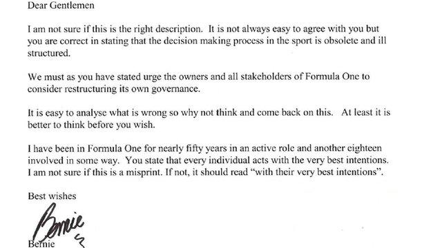 Bernie Ecclestone letter
