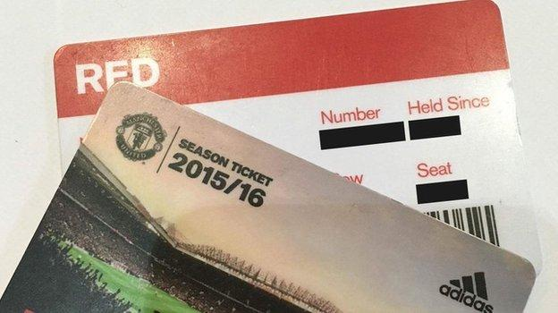 Manchester United season tickets that were sent to one fan