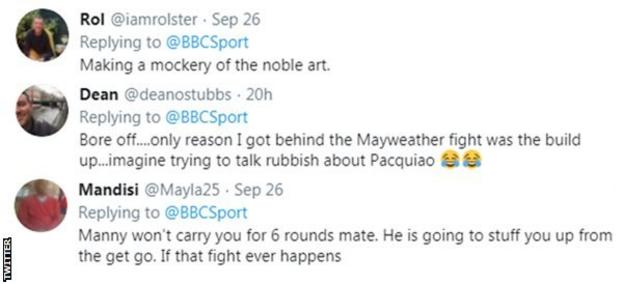 Boxing fans on Twitter react to news that Conor McGregor could fight Manny Pacquiao next, with one fan telling McGregor that