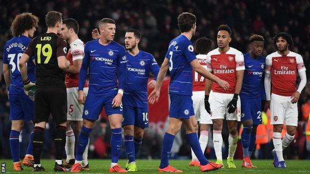 Chelsea players against Arsenal