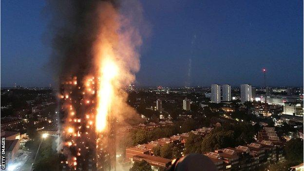 Grenfell Tower on fire on the night of 14 June 2017