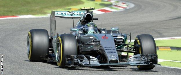 Nico Rosberg in action during the qualifying session of the Italian Grand Prix