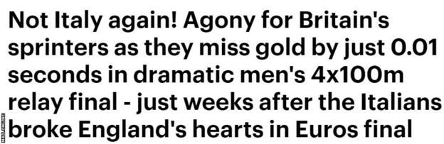 Mail Online headline 'not Italy again'