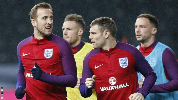 From left to right: Harry Kane, Jamie Vardy, James Milner and Danny Drinkwater