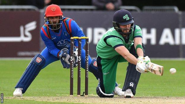 Andrew Balbirnie attempts a sweep shot in a 2018 game between Ireland and Afghanistan at Stormont