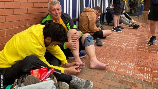 Steve Ramsey gets his feet repaired at the Hawthorns
